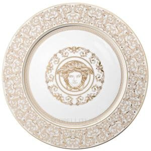 "Versace's amazing ""Medusa Gala"" 33 cm Service Plate showcases elaborate whites and golds arabesque motifs and a finer Greek key encircling the enchanting mythical figure."
