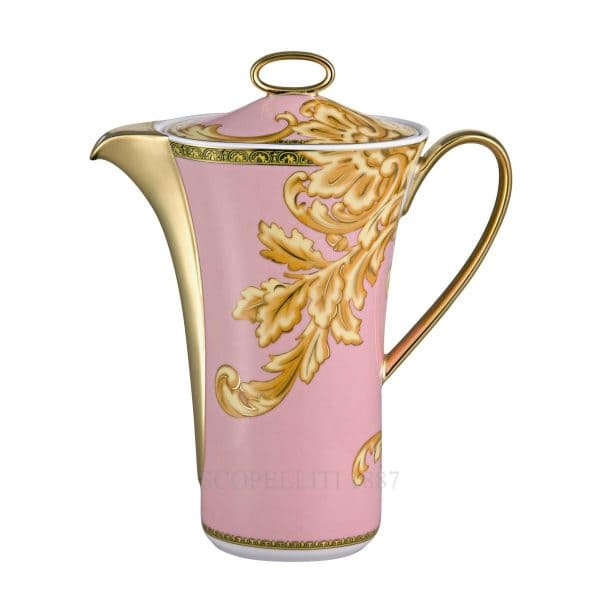 "Versace's queenly ""Les reves Byzantins"" shell pink coffee pot evokes past oriental and exotic atmospheres while savouring the smooth feeling of a cup of coffee."