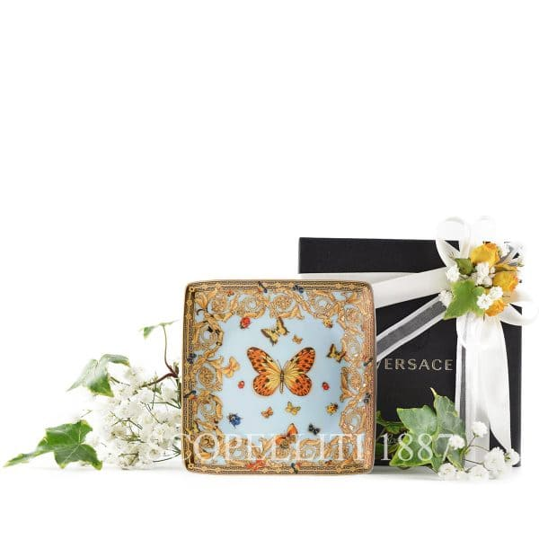 "Versace's delicate ""Le Jardin de Versace""  12 cm Square Dish will enchant your guests with a summer symphony of blossoms and insects."
