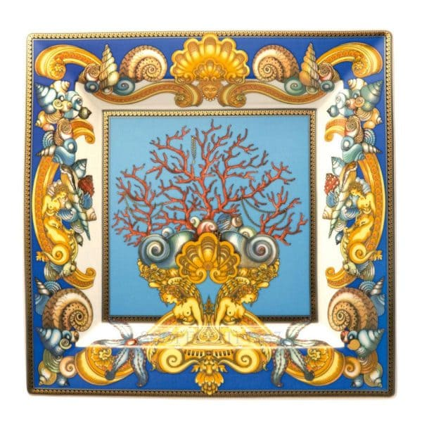 "Versace's impressive ""Les Trésors de la Mer""  30 cm Square Dish depicts a voyage into the depths of the Mediterranean sea so dear to Gianni Versace."