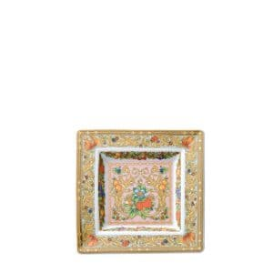 "Versace's playful ""Le Jardin de Versace"" 14 cm Square Dish with swirling festoons of acanthus leaves and blossoms, adorned by colourful insects, depicts  an enchanted garden and its summer symphony."