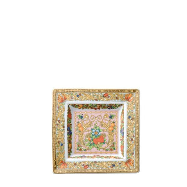 """Versace's playful """"Le Jardin de Versace"""" 14 cm Square Dish with swirling festoons of acanthus leaves and blossoms, adorned by colourful insects, depicts  an enchanted garden and its summer symphony."""