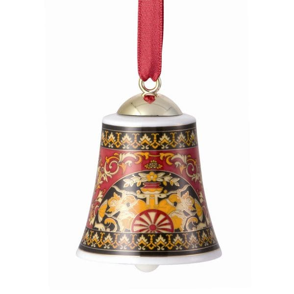 """Versace's festive """"Medusa"""" porcelain bell decoration will add the perfect touch to your Christmas tree."""