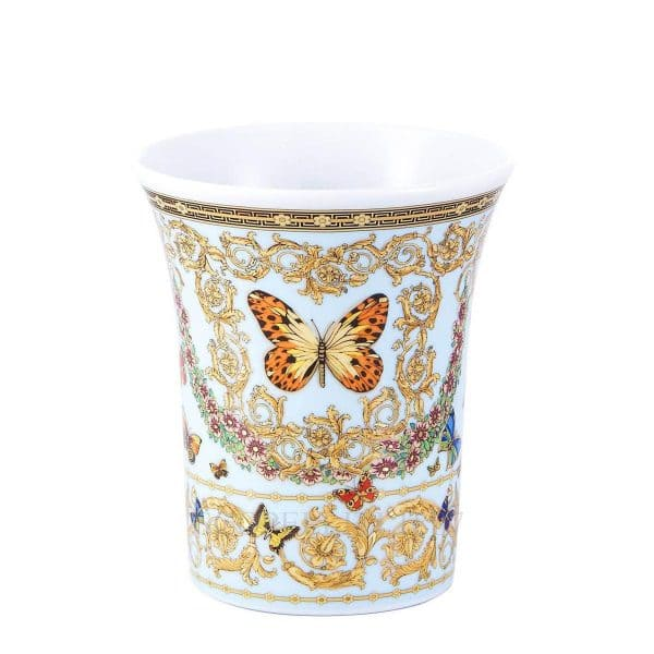 """Versace's entrancing  """"Le Jardin de Versace"""" 18 cm Vase depicts  an enchanting butterfly garden in a bright and colourful sunny spring day."""
