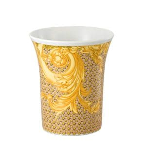 "Versace's  entrancing ""Les Reves Byzantins""18 cm Vase portrays flamboyant gold shaded acanthus leaves against shell pink and gilded lattice patterns."