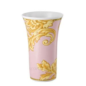 "Versace's entrancing ""Les Reves Byzantins""  26  cm Vase portrays flamboyant gold shaded acanthus leaves against the shell pink background."