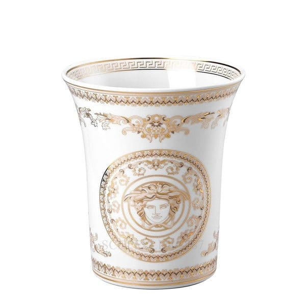 "Versace's stunning ""Medusa Gala"" 18 cm Vase: swirling gold and pearl white colours encase the eye catching central Medusa Head."