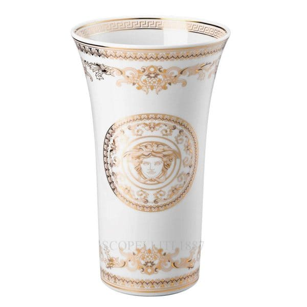 "Versace's stunning ""Medusa Gala"" 34 cm Vase: swirling gold and pearl white colours encase the eye catching central Medusa Head."