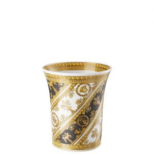 "Versace's slender ""I ❤ Baroque"" vase entrances with black and gold baroque ornaments which  gracefully wrap round the 18 cm tall refined silhouette."
