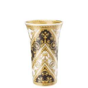 "Versace's slender ""I ❤ Baroque"" vase entrances with black and gold baroque ornaments which  gracefully wrap round the 26 cm tall refined silhouette."