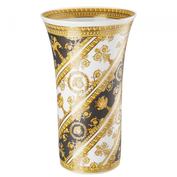 "Versace's slender ""I ❤ Baroque"" vase entrances with black and gold baroque ornaments which  gracefully wrap round the 34 cm tall refined silhouette."
