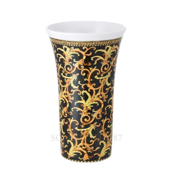 "Versace's luxuriant ""Barocco""  26 cm Vase features a swirling harmony of rich black and gold patterns ready to enchant your guests."