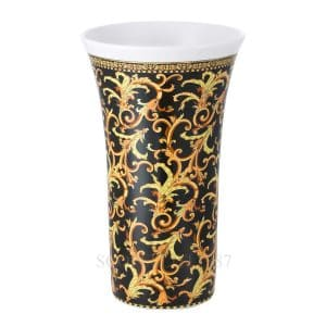 "Versace's luxuriant ""Barocco"" 34 cm Vase features a swirling harmony of rich black and gold patterns ready to enchant your guests."