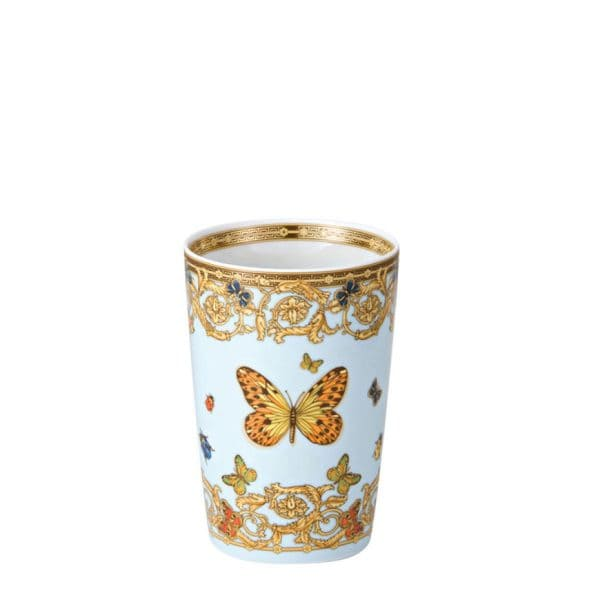 "Versace's playful ""Le Jardin de Versace"" tumbler with swirling festoons of acanthus leaves and blossoms and a tantalizing central butterfly depicts  an enchanted garden and its summer symphony."