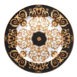 "Versace's luxuriant ""Barocco"" 30 cm Service Plate features a swirling harmony of rich black and gold patterns ready to enchant your guests."