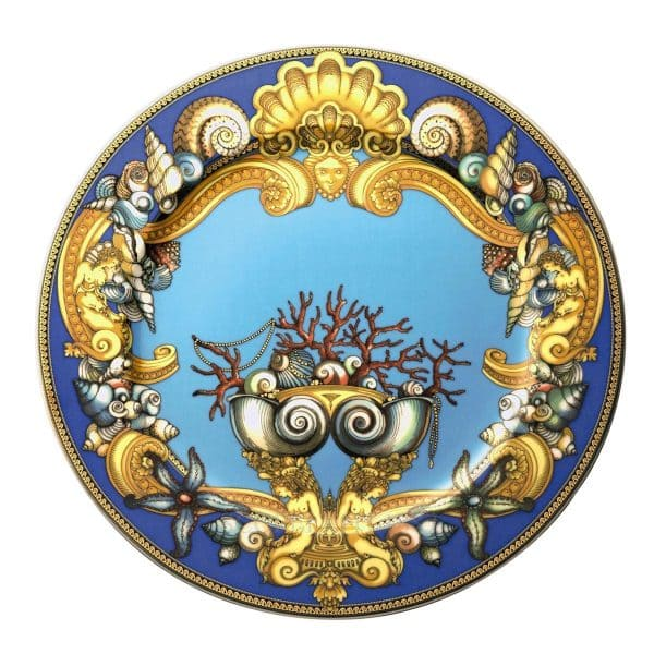 "Versace's magnificent ""Les Trésors de la Mer""  30 cm Service Plate depicts a voyage into the depths of the Mediterranean sea so dear to Gianni Versace."