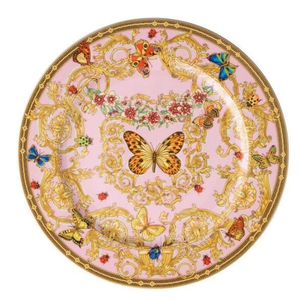 "Versace's delicate ""Le Jardin de Versace""  30 cm Service Plate will enchant your guests with a summer symphony of blossoms and insects."