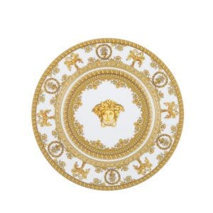 "Versace's precious ""I Love Baroque white"" 18 cm side plate will beautify with ornate flair any table setting."