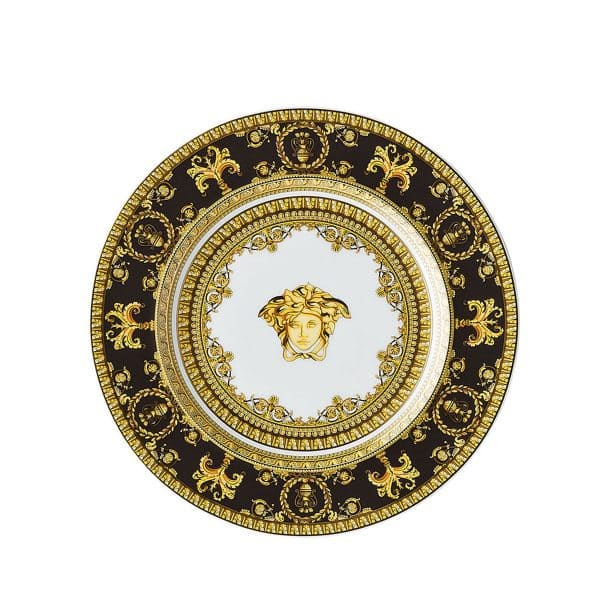 """Versace's precious """"I Love Baroque black"""" side plate will beautify with ornate flair any table setting."""