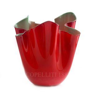 Fazzoletto bicolore rosso/verde mela Venini