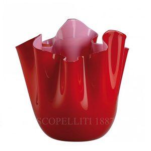 Fazzoletto bicolore rosso/rosa Venini