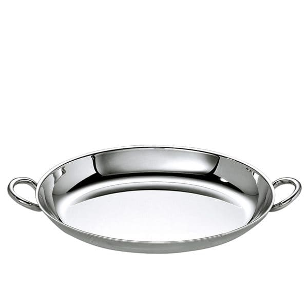 Vertigo Silver Plated serving platter with its essential oval shape and iconic Vertigo thick asymmetric handles is perfect for serving meat dishes, grilled vegetables or a stack of rolls with the iconic Christofle French sensual style.