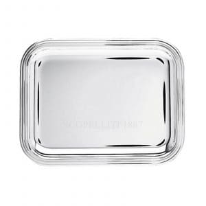 Albi Silver Plated rectangular Tray displays captivating elegance and timeless beauty through the generous rounded corners and threadlike grooves that outline the outer rim. True Christofle Maison style for presentation or serving.