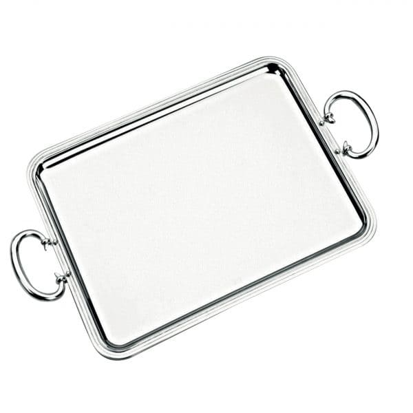 Albi Silver Plated rectangular Tray with handles displays captivating elegance and timeless beauty through the generous rounded corners, sturdy handles and threadlike grooves that elegantly outline the outer rim. True Christofle Maison style for beverage service or tray-passed appetizers at an event.