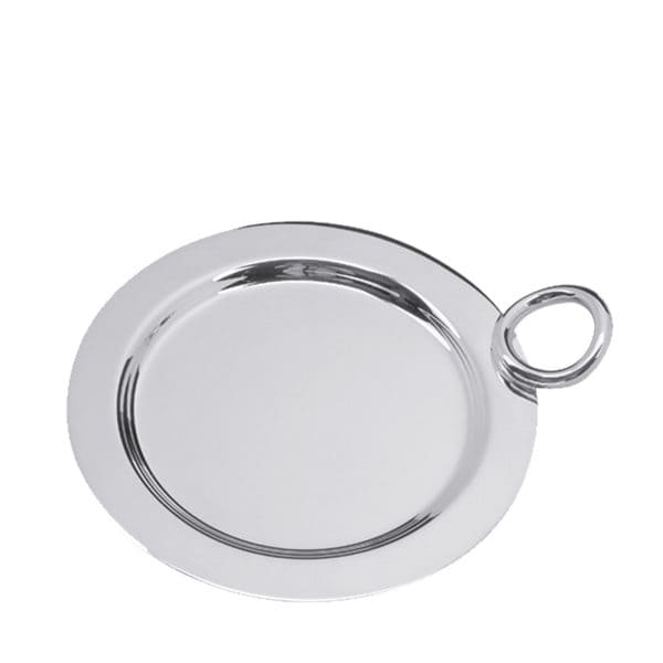 Vertigo Silver Plated coaster is designed to hold wine and water bottles as well as carafes and protect the table from condensation rings. The Vertigo asymmetrical ring shaped handle playfully enriches the side of the refined and polished round base.