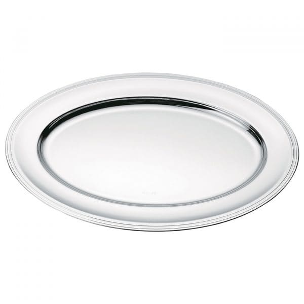 Albi Silver Plated Oval Platter recalls the elegant and straight lines and single nave of Albi Cathedral in the homonymous French town located between Toulouse and Bordeaux. Set an elegant table with the Silver Plated platter and the delicate grooves that trail along the oval lip. Ideal for presenting meats and main courses.