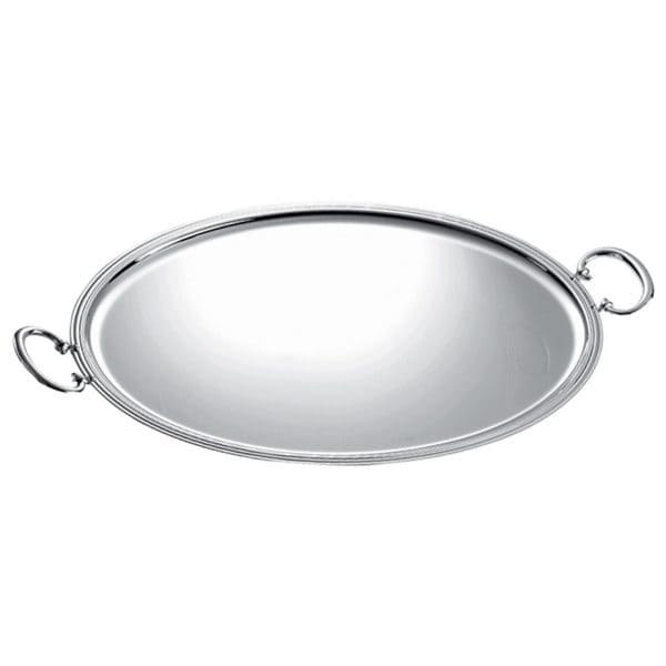 Albi Silver Plated Oval Tray displays captivating elegance and timeless beauty  through the generous rounded sides, the threadlike grooves that elegantly outline the outer lip and the sturdy handles. True Christofle Maison style for beverage service or tray-passed appetizers at an event.