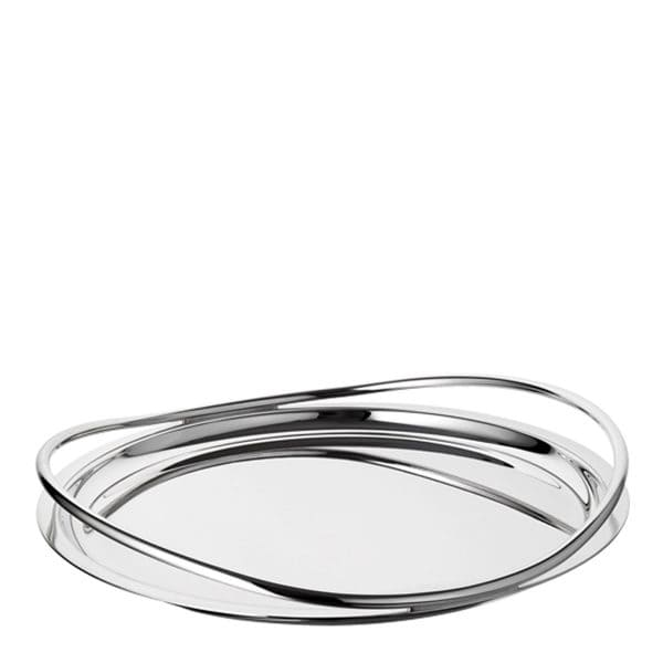 Vertigo large Silver Plated round Tray with its mirror polished finish is ideal to serve food or to display collections of small items. The raised outer rim creates a wonderful play of reflections and is completed by the slightly faired and twisted bold Vertigo rings which act as handles.