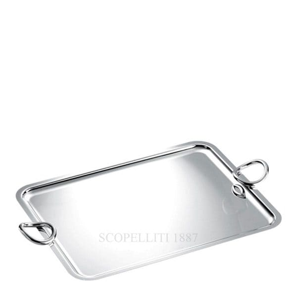 Vertigo large Silver Plated Rectangular Tray with its mirror polished finish is ideal to serve food or to display collections of small items. The slightly faired and twisted bold Vertigo ring shaped handles on the sides complete this elegant serving piece with its wonderful play of reflections.