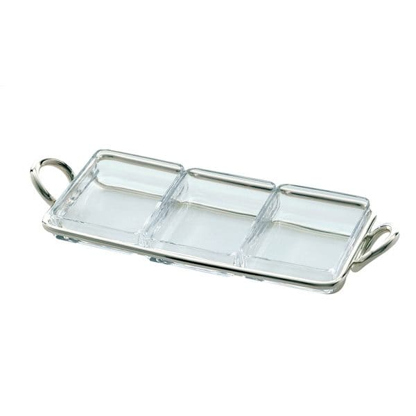 Vertigo silver plated snack server with three rectangular Pyrex glass inserts and a silver plated holder with two handles is perfect for serving snacks like nuts, olives or candy or could be used as a trinket catchall. The sensual handles of the tray according to the Vertigo design are formed by two subtly asymmetrical, thick rings placed playfully at the side.