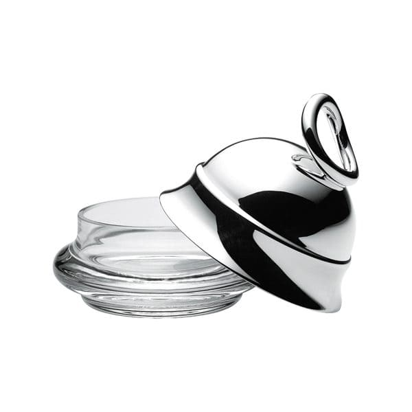Vertigo Silver Plated Personal  Butter Dish will adorn any elegant table setting with its dainty glass dish crowned by the iconic asymmetrical and thick Vertigo ring joyfully askew on the mirror polished silver plated bell shaped lid. Delight your dinner guests with this French touch of Christofle style and playful reflections.