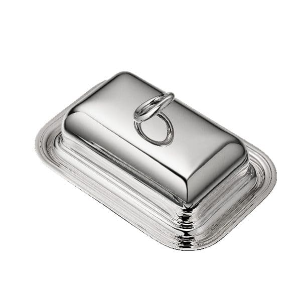 Vertigo Silver Plated  Butter Dish will adorn an elegant table setting with its rectangular base crowned by the iconic asymmetrical and thick Vertigo ring joyfully askew on the mirror polished silver plated lid. Delight your dinner guests with this French touch of Christofle style and playful reflections.