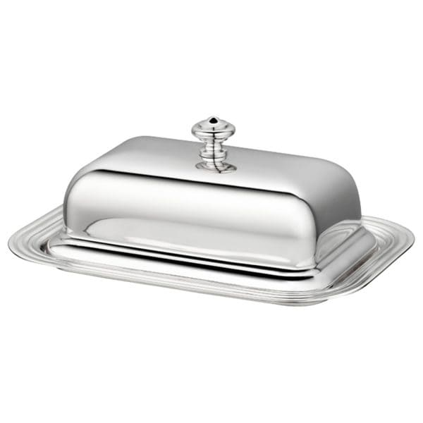 Albi rectangular butter dish from Christofle not only looks elegant, it is also an extremely practical combination. A crystal glass dish resides on the silver plated tray. Over the top arches the silver plated lid of this butter dish. You can thus place the glass dish into the fridge separately, without having to manoeuvre a space for the entire silver casing.