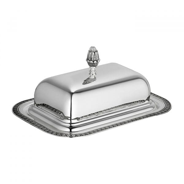Malmaison Silver Plated Lidded Butter Dish features a rectangular base bordered by an delicate palm tip frieze and refined lustrous lid crowned by an elaborate lotus blossom: a true Christofle Maison eye-catcher