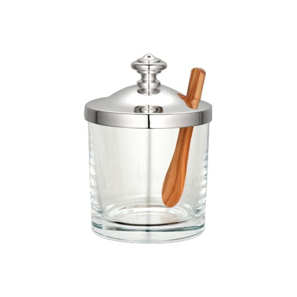 Albi Silver Plated Mustard/Jam Pot combines high-quality crystal glass with a beautifully formed lid that the French company has plated in silver in its inimitable style. A classic accessory on you table with an added value, a modern wooden spoon.