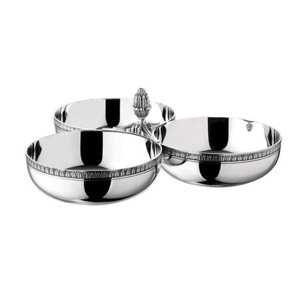 Malmaison Silver Plated Triple Bowl Condiment/Snack Dish by Christofle has three separate bowls perfect for snacks, sauces and condiments. The rim of each Christofle bowl is bordered with a striking palm tip frieze and their union is crowned by a rising central lotus blossom: the perfect centre piece for any dining table.