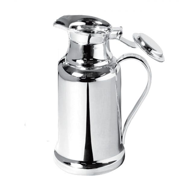 Albi Silver Plated Thermos, a must for fans of high tea or after-dinner coffee, is ideal for keeping beverages warm or cold during a meal. The Albi flask features a fabulous mirror polished vertical silhouette enriched by the delightfully high swung handle.