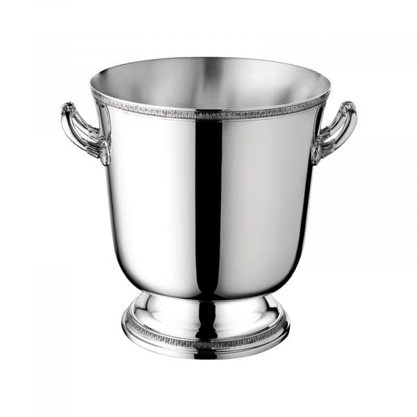 Malmaison Silver Plated Ice Bucket by Christofle features friezes enriched with palm tips bordering the pedestal base and the upper rim. Richly ornate side handles complete this true eye catcher,  a must have for any bar service and an ideal housewarming or wedding gift.