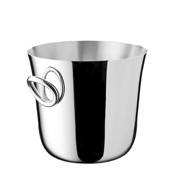 Vertigo Silver Plated champagne cooler bucket for two bottles features a delicately faired yet linear silhouette  enriched by the iconic Vertigo slightly twisted bold handles on the side.  A true eye catcher which adds modern and playful elegance to any bar service and makes an ideal housewarming or wedding gift for the lovers of bubbles.