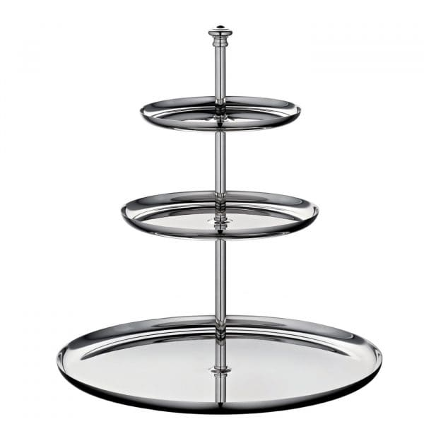 Albi Silver Plated three-tier dessert stand is perfect for displaying elegantly cupcakes, breakfast pastries, mini desserts or small sandwiches at tea time.