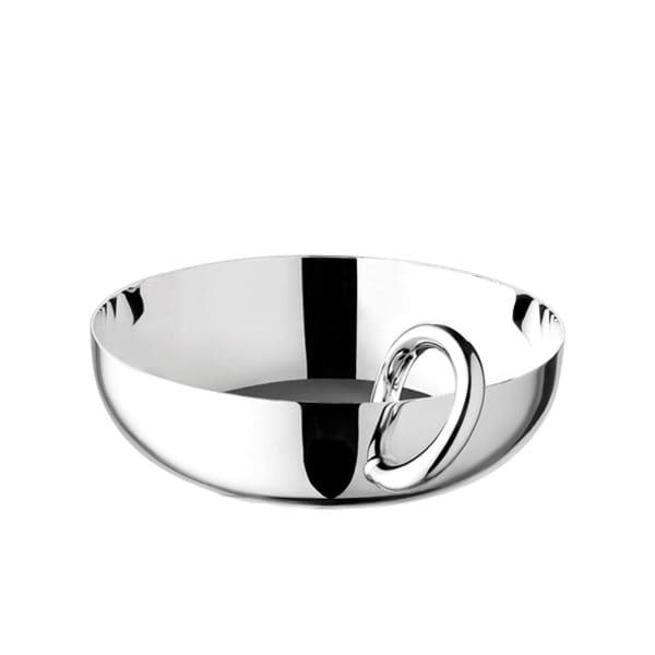 Vertigo large silver plated bangle bowl is perfect for serving snacks like nuts, olives or candy or could be used as a trinket catchall. The iconic bold single handle asymmetrically straddles over the fine rim of the polished vessel creating a beautiful contrast between the thickness of the ring and the delicacy of the bowl.