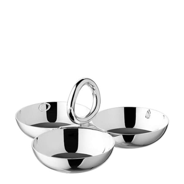 Vertigo Large Silver Plated Snack Tray/Server with Three Bowls with its mirror polished finish and central handle crowned by the slightly askew vertigo circle is ideal to serve snacks like nuts, olives or candy or could be used as a trinket catchall.