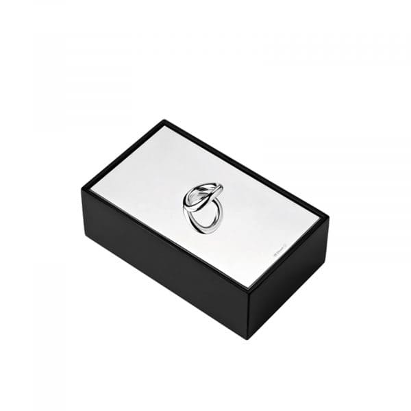 Vertigo large rectangular Box with its silver plated lid and black-lacquered wood body is a modern and refined storage option, office accessory or decorative table accent. The bold asymmetrical Vertigo ring, playfully tilts and reflects in the mirror polished silver surface of the elegant lid.
