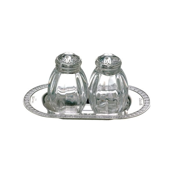 Malmaison Salt and Pepper Silver Plated Shakers by Christofle feature highly polished curvy silhouettes delicately bordered by palm tip engraved friezes: the crowning touch to any elegantly laid table.