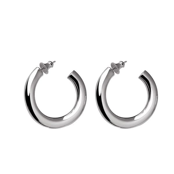 Idole Sterling Silver Hoop Earrings for pierced ears feature a linear purity which reflects the Parisian chicness for the busy women who want to wear the same accessories from morning to night.
