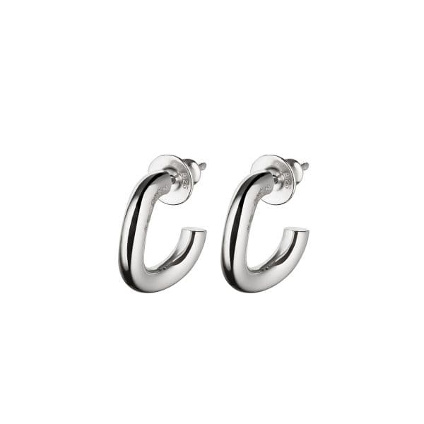 Idole Sterling Silver pendant earrings for pierced ears feature the sensual curves of a circle within a circle in perfect harmony. A sleek, ultra-modern and feminine sterling silver Christofle Jewel for women in adequacy with their time.